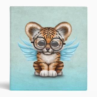 Cute Tiger Cub Fairy Wearing Glasses on Blue Vinyl Binder