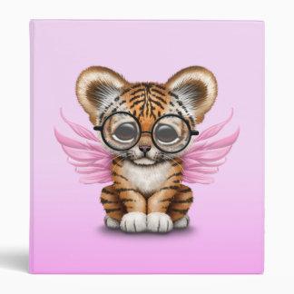 Cute Tiger Cub Fairy Wearing Glasses on Pink Binders