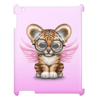 Cute Tiger Cub Fairy Wearing Glasses on Pink Cover For The iPad