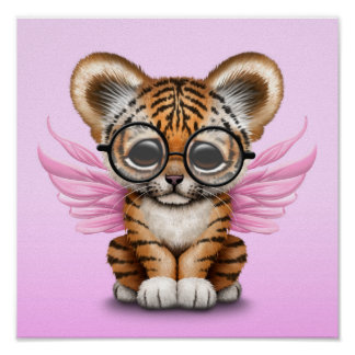 Cute Tiger Cub Fairy Wearing Glasses on Pink Poster