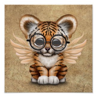 Cute Tiger Cub Fairy Wearing Glasses Poster