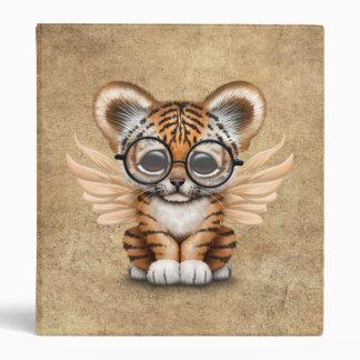 Cute Tiger Cub Fairy Wearing Glasses Vinyl Binder