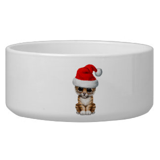 Cute Tiger Cub Wearing a Santa Hat Bowl