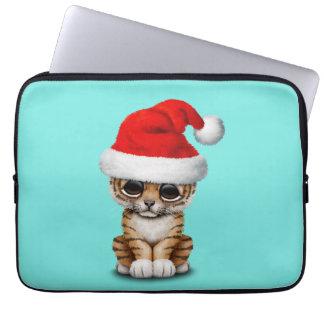 Cute Tiger Cub Wearing a Santa Hat Computer Sleeve