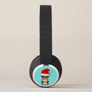 Cute Tiger Cub Wearing a Santa Hat Headphones