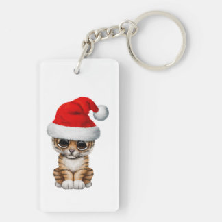 Cute Tiger Cub Wearing a Santa Hat Keychain
