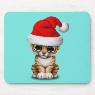 Cute Tiger Cub Wearing a Santa Hat Mouse Pad
