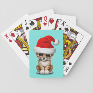 Cute Tiger Cub Wearing a Santa Hat Playing Cards