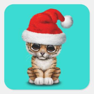 Cute Tiger Cub Wearing a Santa Hat Square Sticker