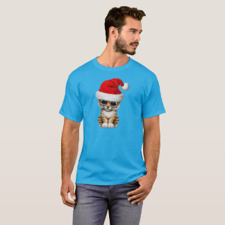 Cute Tiger Cub Wearing a Santa Hat T-Shirt