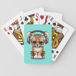 Cute Tiger Cub Wearing Headphones Playing Cards