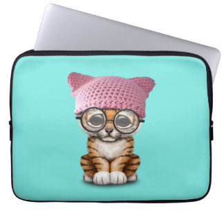 Cute Tiger Cub Wearing Pussy Hat Computer Sleeve
