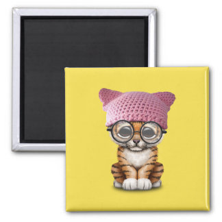Cute Tiger Cub Wearing Pussy Hat Magnet