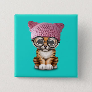 Cute Tiger Cub Wearing Pussy Hat Pinback Button