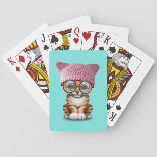 Cute Tiger Cub Wearing Pussy Hat Playing Cards
