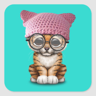 Cute Tiger Cub Wearing Pussy Hat Square Sticker