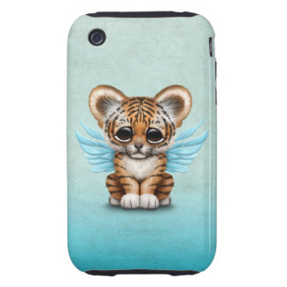 Cute Tiger Cub with Fairy Wings on Blue iPhone 3 Tough Cover
