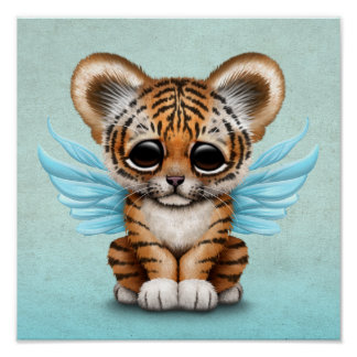 Cute Tiger Cub with Fairy Wings on Blue Poster