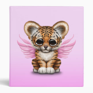 Cute Tiger Cub with Fairy Wings on Pink Binder