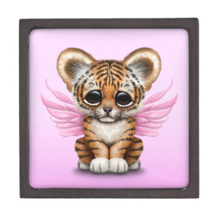 Cute Tiger Cub with Fairy Wings on Pink Gift Box