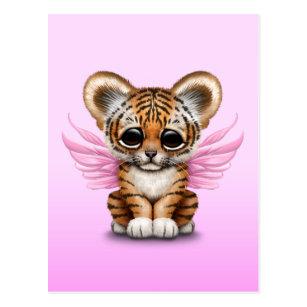 Cute tiger cub postcards zazzle cute tiger cub with fairy wings on pink postcard altavistaventures Images