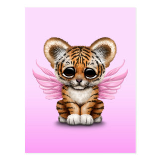 Cute Tiger Cub with Fairy Wings on Pink Postcard
