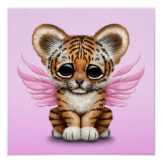 Cute Tiger Cub with Fairy Wings on Pink Poster