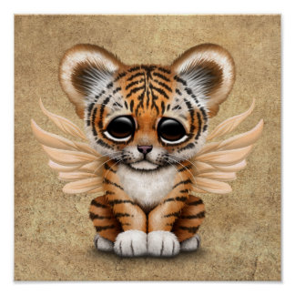 Cute Tiger Cub with Fairy Wings Poster