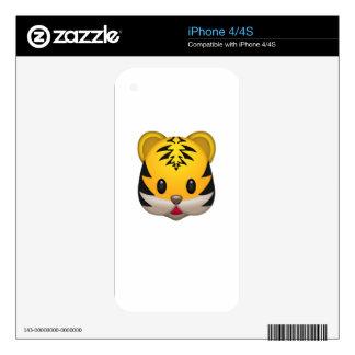 Cute Tiger Emoji iPhone 4 Decals