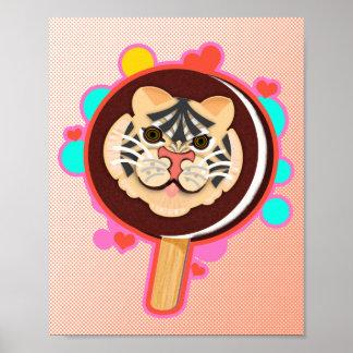 Cute Tiger Ice Cream Sandwich - Poster