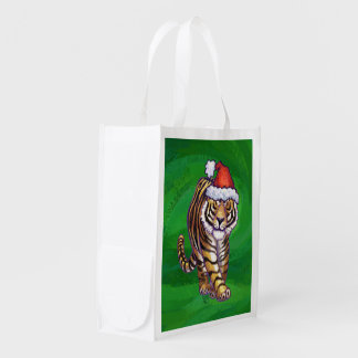 Cute Tiger in Santa Hat On Green Reusable Grocery Bag