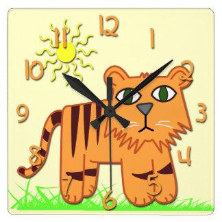 Cute Tiger Kid's Square Wall Clock