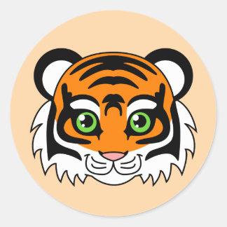 Cute Tiger Orange Classic Round Sticker