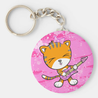 Cute Tiger Rock Star with Guitar Key Chain