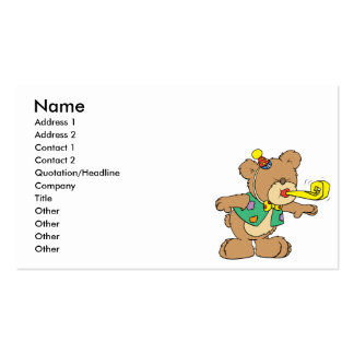 cute time for a party celebration teddy bear desig Double-Sided standard business cards (Pack of 100)