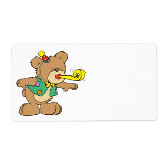 cute time for a party celebration teddy bear desig shipping label