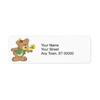 cute time for a party celebration teddy bear desig return address label