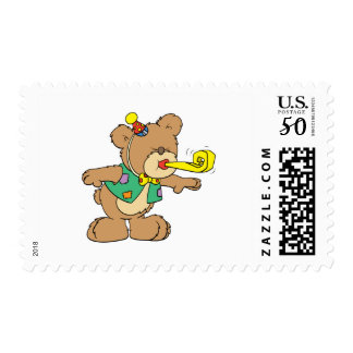 cute time for a party celebration teddy bear desig postage
