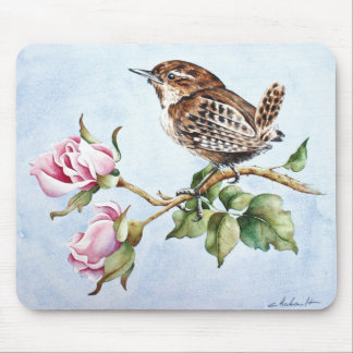 Cute tiny bird and roses mouse pad