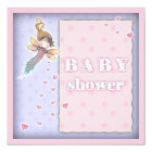 Cute Tiny Fairy and Hearts Girl Baby Shower Invite