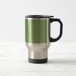Cute tiny green birds with twisted tail around the coffee mug