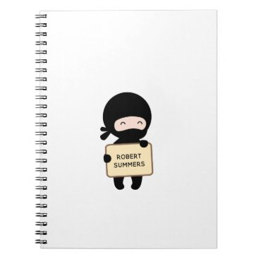 Beach Themed Cute Tiny Ninja Holding Sign Custom Name Notebook