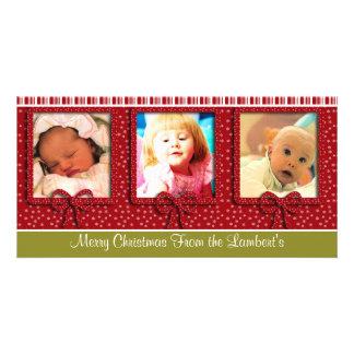 Cute Tiny Snowflakes Stripes Christmas Photo Card