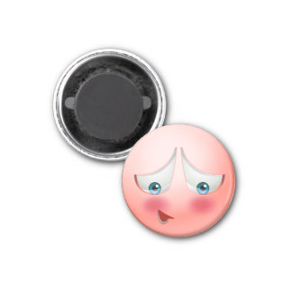 Cute & tiny super shy pink emoji 1 inch round magnet