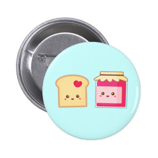 Cute Toast and Strawberry Jam, Spread Love Pinback Button