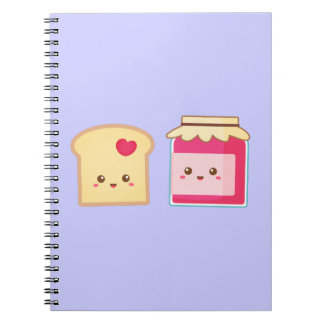 Cute Toast and Strawberry Jam, Spread Love Spiral Notebook
