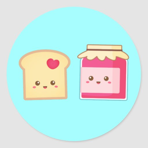 Cute Toast and Strawberry Jam, Spread Love Stickers
