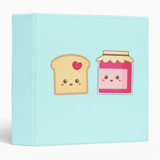 Cute Toast and Strawberry Jam Spread the Love 3 Ring Binder