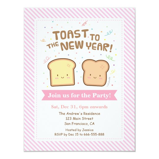 cute toast to the new year pun confetti party invitation