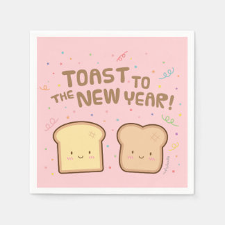 Cute Toast to the New Year Pun Confetti Party Paper Napkin